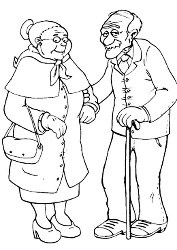 Раскраска бабушка и дедушка скачать и распечатать
