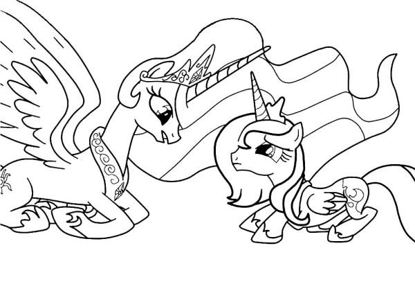 Скачать и распечатать раскраски пони Селестия
