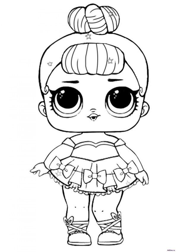 Кукла ЛОЛ в платье - раскраска для девочек - Раскраски А4 ...