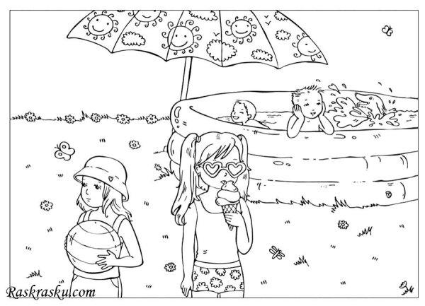 Раскраска Дети в бассейне Раскраски лето для детей