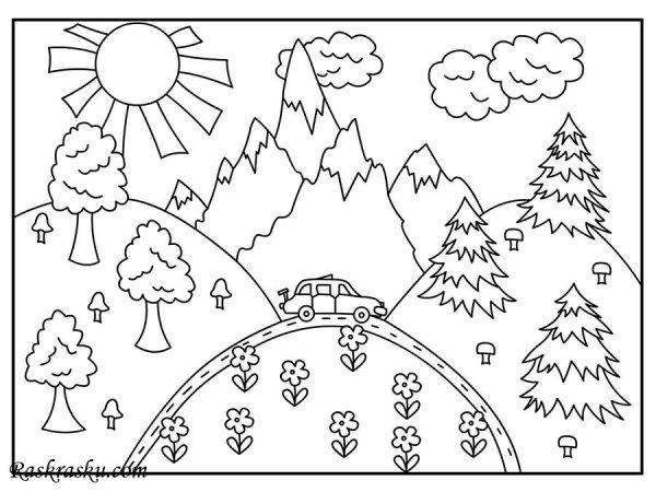 Раскраска Девочка на опушке Раскраски лето для детей