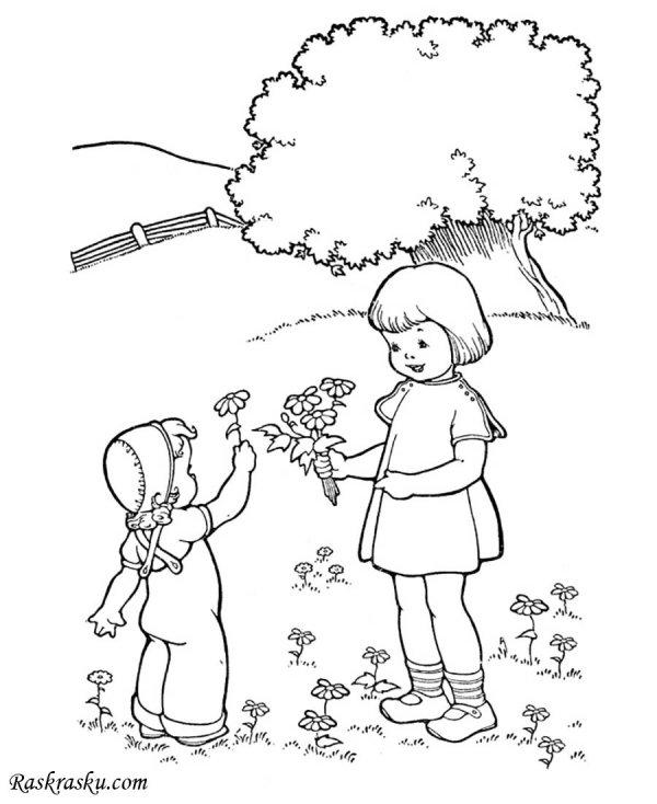 Раскраска Девочки собирают цветы Раскраски лето для