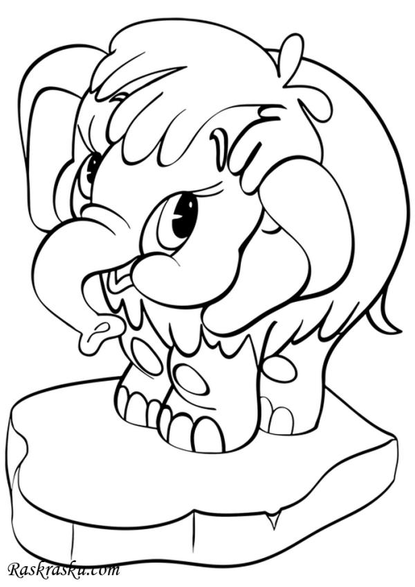 Раскраска Слоник на льдине   Раскраски слоны для детей ...