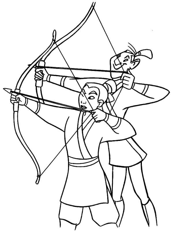 Контурные картинки для раскрашивания с Мулан печатайте