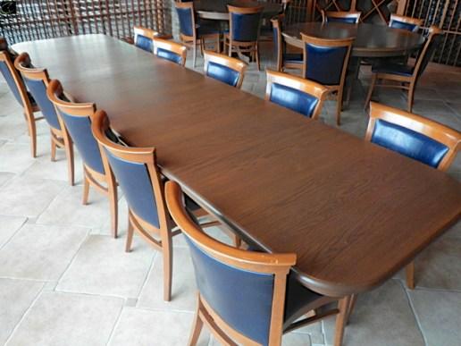 DINING TABLE 12FT W X 3FT D, OAK, 3 SECTION, OAK WOOD BASE