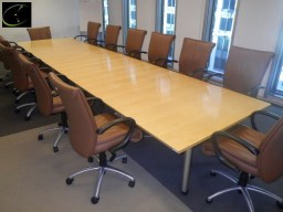CONFERENCE TABLE 18FT, 4 SECTION, EACH SECTION IS 54IN X 54IN, ON CASTERS, METAL FRAME