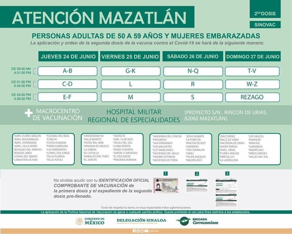Madero y xochimilco también pondrá la última inmunización para … Aplicarán segunda dosis de vacuna en Mazatlán de 50 a 59