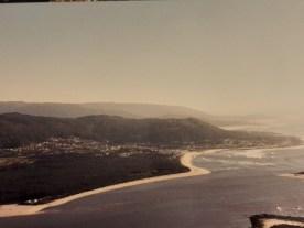 Moledo, Portugal, desde Santa Tecla, España con el rio Miño como frontera natural