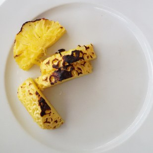 Grilled pineapple slices.. carelessly tossed onto my plate. I was eager to eat them.I wolfed down 4 slices at one go. :)