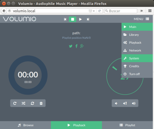 volumio meni configuracion settings menu