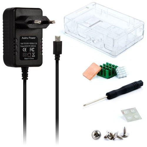 Aukru Transparente Caja + Micro USB 5V 3000mA Cargador + disipador de calor para Raspberry Pi 3 Modelo B