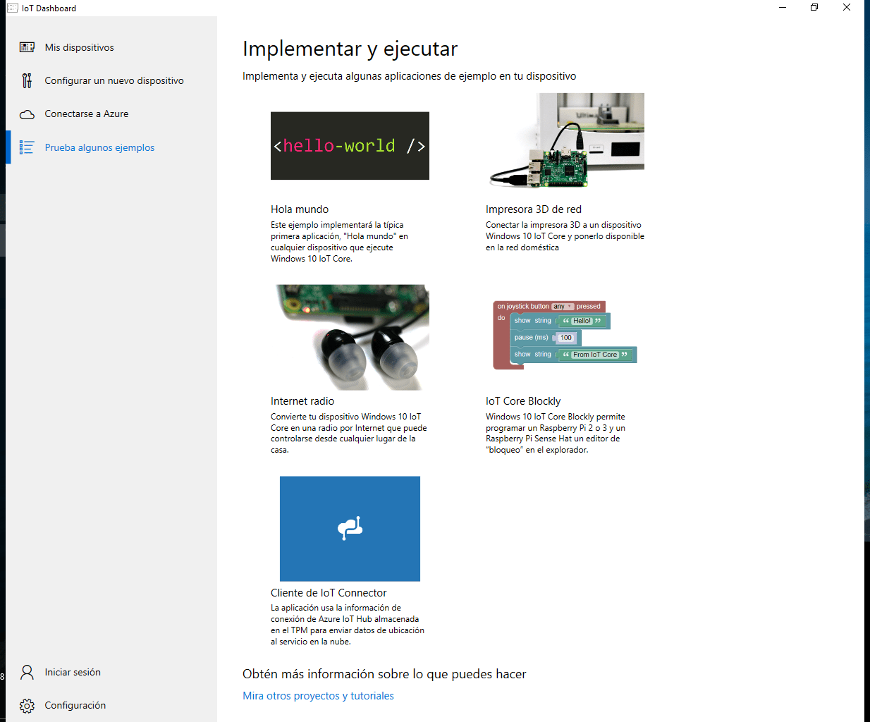 windows 10 iot proyectos