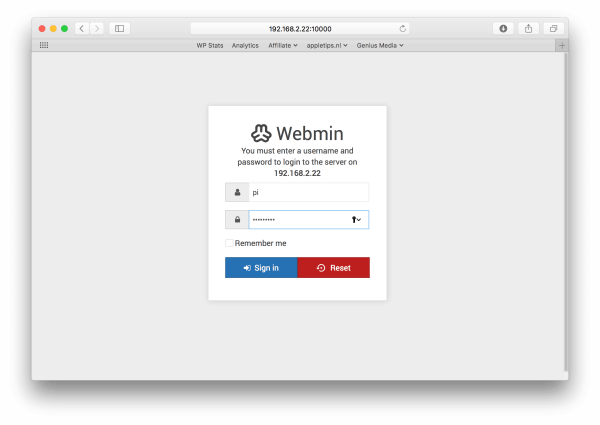 webmin raspberry pi login