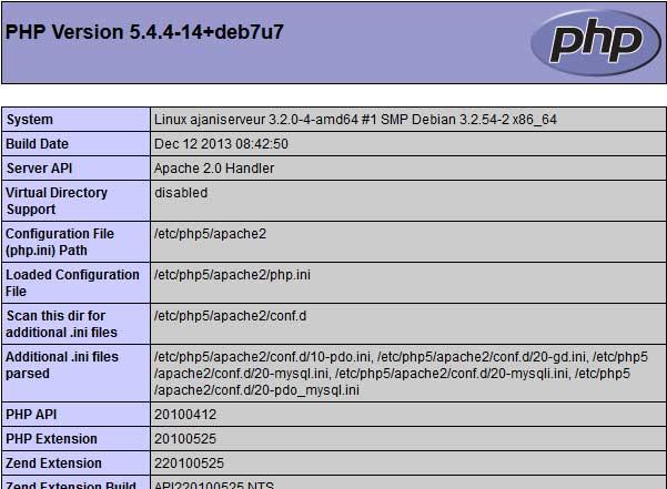 Capturando um phpinfo de um servidor em Raspbian.