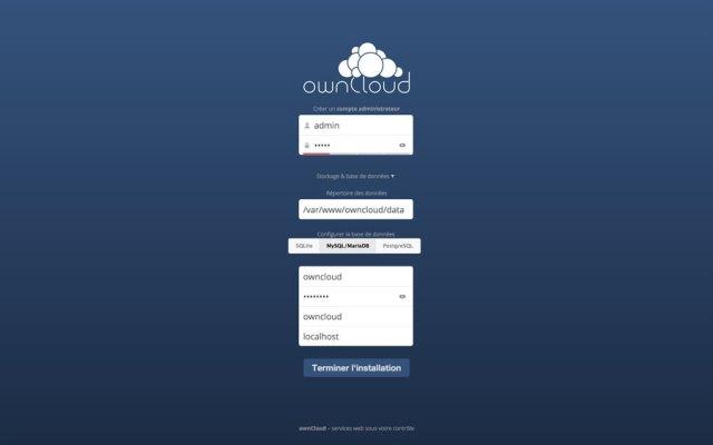 Interface connexion OwnCloud