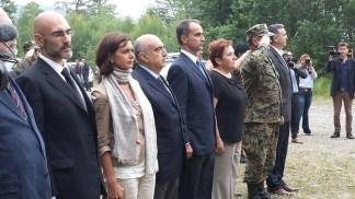 Le Autorita' intervenute durante l'esecuzione degli Inni nazionali