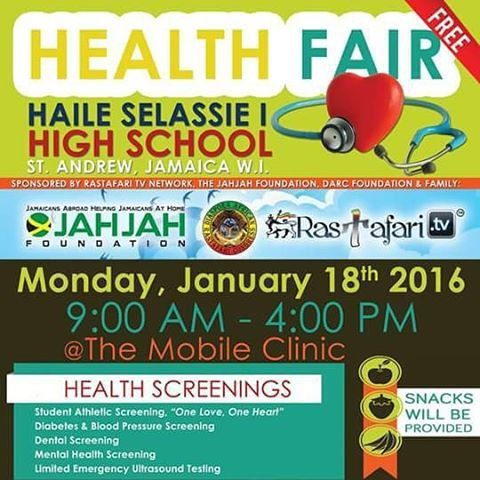 #rastafaritv sponsors Free #healthfair  at Haile Selassie School Jan. 18, 2016 and need your help to provide healthy snacks and meals for about 1000 youth who need our help.  Donations tax exempt and transparent.  Give thanks to all #souljah and #reggae artists that will step up to this challenge! Please donate http://donate.rastafari.tv.  Let US help build UP INI Nation without begging Babylon.  Forward on to victory!