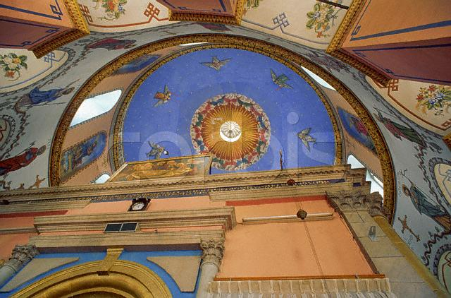 The painted ceiling in the Ethiopian Church, on Ethiopia Street. ca. 1980-1998 Jerusalem, Israel