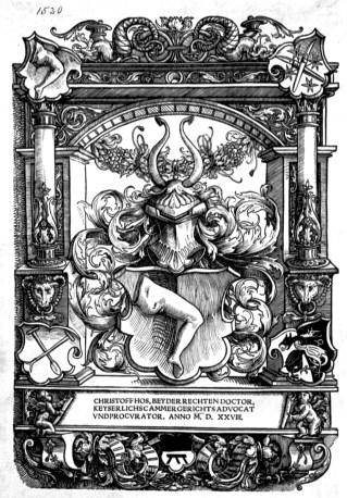 Ex libris mit Wappen des Christoff Hos, beider Rechten Doktor, kaiserliche Procura und Kammergerichtsrat, 1528
