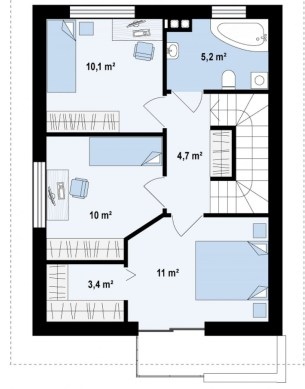 Rate La Dezvoltator - Casa ieftina Parter si Mansarda - Plan Mansarda