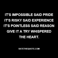"""It's impossible said pride, it's risky said experience, it's pointless said reason. Give it a try whispered the heart."""