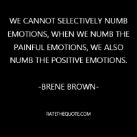 """We cannot selectively numb emotions, when we numb the painful emotions, we also numb the positive emotions."""