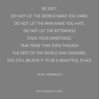 Be soft. Do not let the world make you hard. Do not let the pain make you hate. Do not let the bitterness steal your sweetness. Take pride that even though the rest of the world may disagree, you still believe it to be a beautiful place. – Kurt Vonnegut