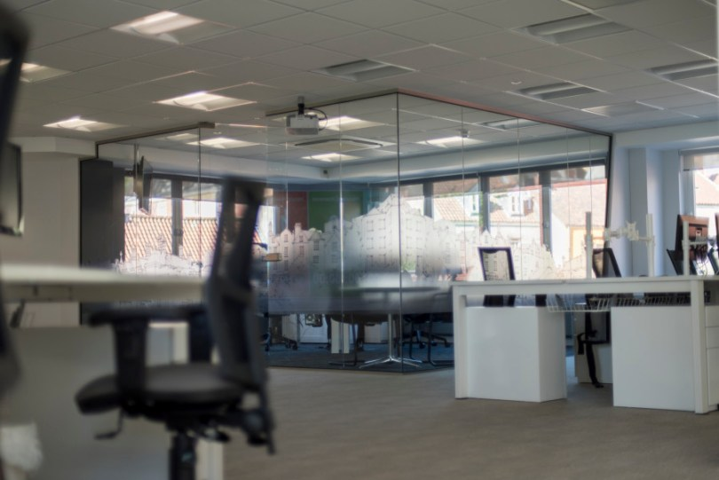 Glass pod feature meeting room
