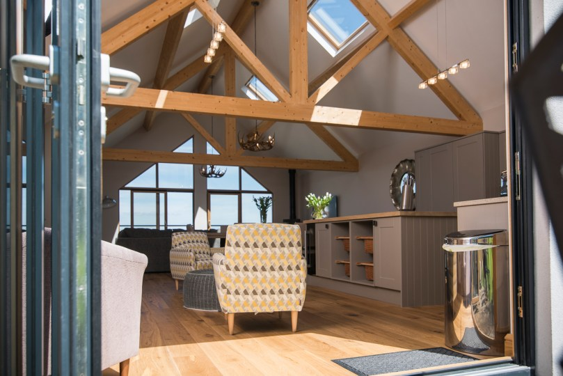Exposed beams, bi-fold doors