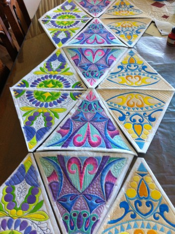 three designs done awaiting embellishing and trimming