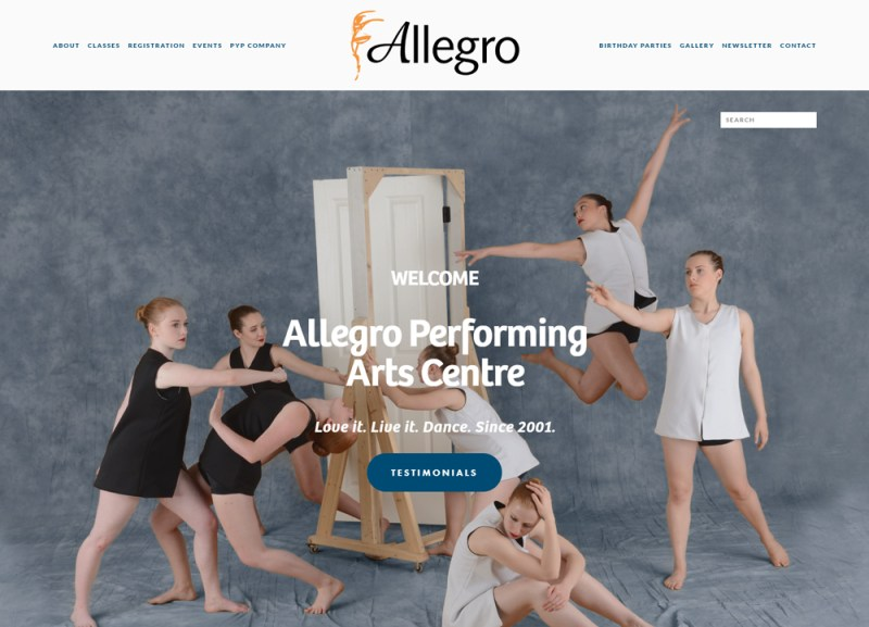 screenshot allegro homepage