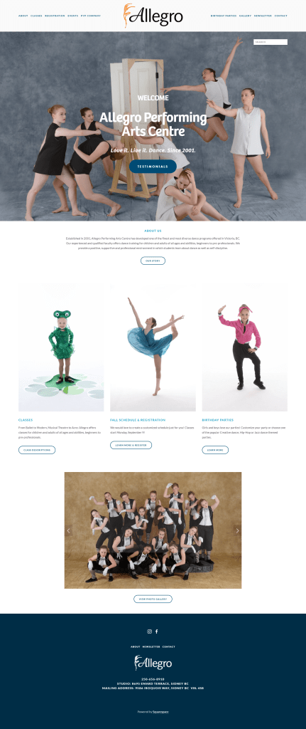 Screencap of Allegro Performing Arts Centre homepage