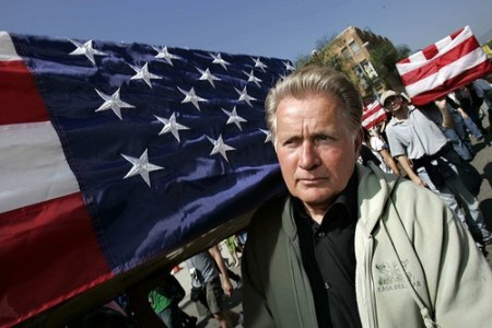 Martin Sheen carries a flag-draped coffin during an anti-war demonstration in Los Angeles.(Ann Johansson, Associated Press)March 17, 2007