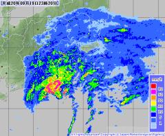 気象庁レーダー降水ナウキャスト(2008年9月19日23時20分)