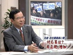 サンデープロジェクトに出演した志位和夫委員長(2008年12月14日、テレビ朝日)