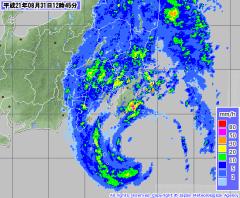 気象庁レーダー降雨ナウキャスト(2009年8月31日12時45分)