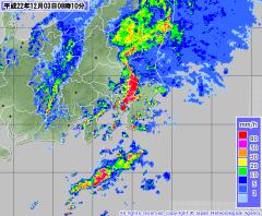 気象庁レーダー・ナウキャスト(2010年12月3日午前8時10分)