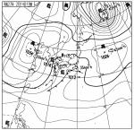 天気図(2011年2月14日午後6時、気象庁)