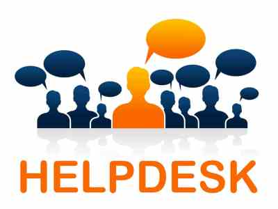 A graphic that says help desk