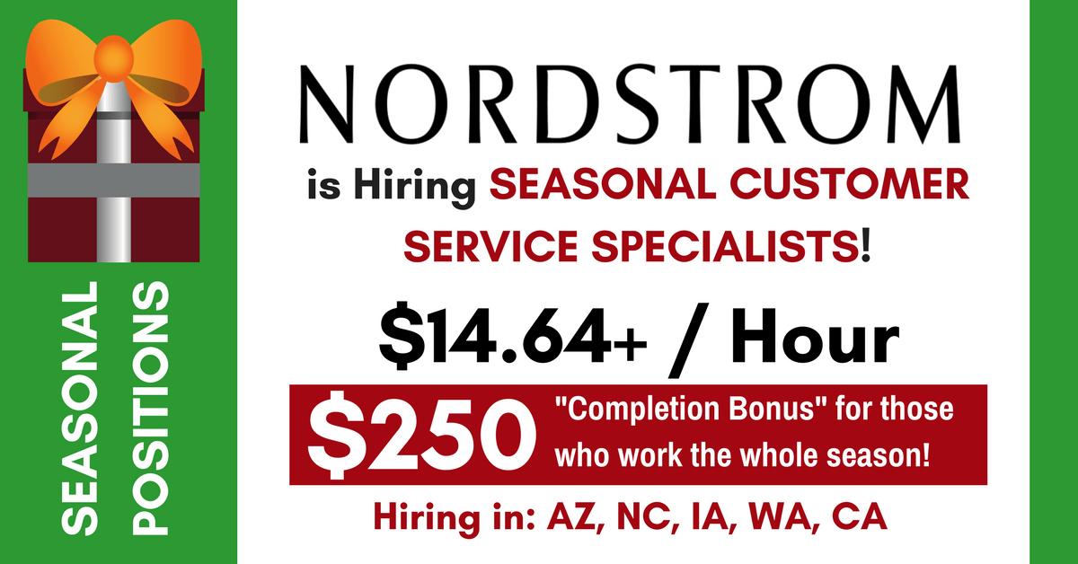nordstrom now hiring seasonal customer