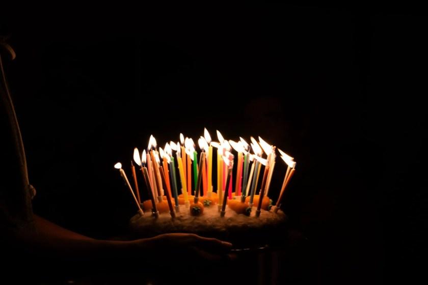 A birthday cake in the dark