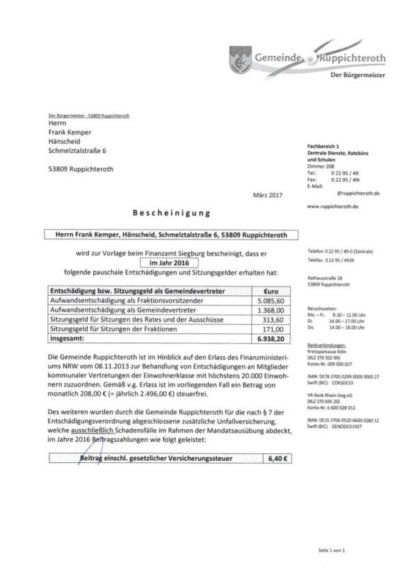 Gemeinde Ruppichteroth, Frank Kemper, Aufwandsentschädigungen 2016