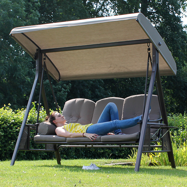 Tamarin 3 Seater Garden Swing Seat Plus Canopy Luxury Beige Cushions