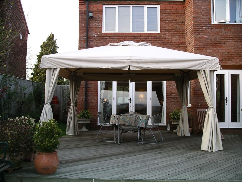 sahara 4m x 3m rectangular wooden frame portable gazebo beige canopy
