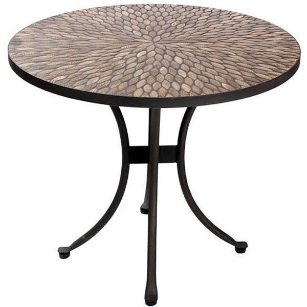 pebbledash tile top 90cm round patio bistro table