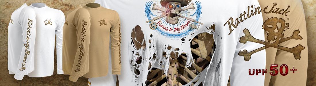 Rattlin Jack Long Sleeve UPF Sun Protection shirts Skeleton Back Long Sleeves Design