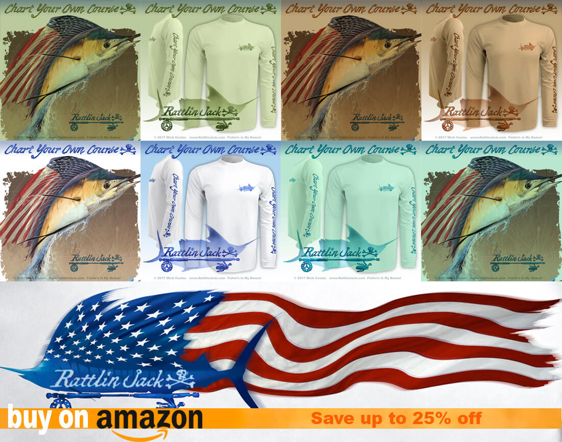 Presidents Day Sale on Amazon up to 25% off all Rattlin Jack Patriotic Fishing shirts