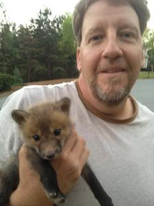 rick with a baby fox kit