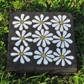daisies concrete paver - ceramic and gold leaf glass