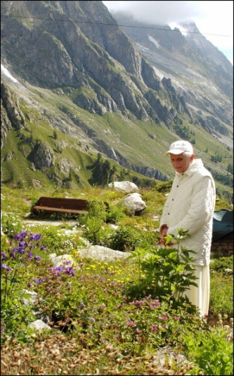 ITALY - JULY 20: Pope Benedict XVI is in the Italian Alps for a mountain holiday in the secluded chalet built for his predecessor John Paul II. The 78-year-old pontiff enjoys a 17-day break in the Alpine valley in the shadow of Mont Blanc. Security in the nearby village of Les Combes of just 600 inhabitants is extremely tight, with some 200 Italian carabinieri and plainclothes officers in place. The pontiff will remain in Les Combes until July 28, when he will travel to the papal residence in the ancient town Castel Gandolfo in the Alban Hills, south of Rome in Rome, Italy on July 21st, 2005. (Photo by Eric VANDEVILLE/Gamma-Rapho via Getty Images)
